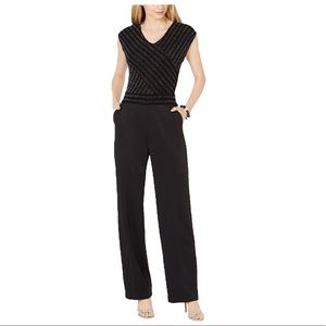 Women's Petite Wide-Leg Glitter-Top Jumpsuit